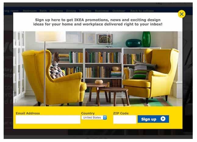 Всплывающее окно IKEA появляется и сразу запрашивает вашу электронную почту