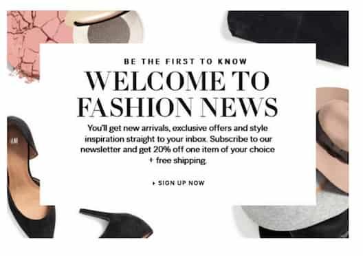 H & M представляет собой двухэтапный вариант, который дает скидку 20%