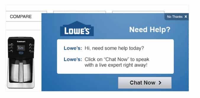 Lowe's не отображает всплывающее окно до тех пор, пока вы немного не просмотрели сайт.