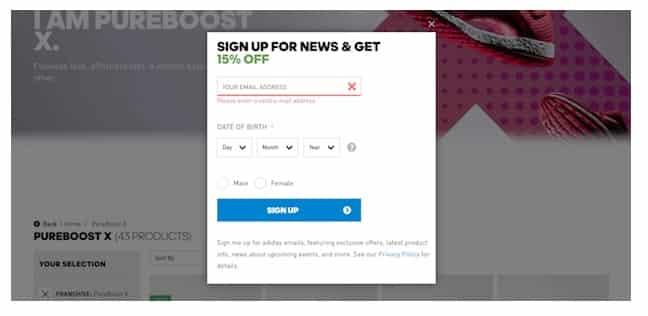 Adidas запрашивает ваш адрес электронной почты