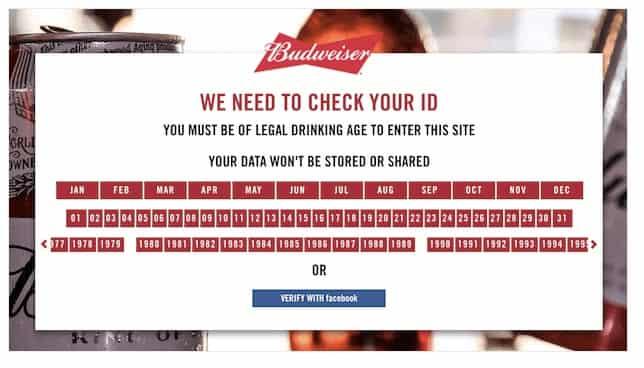 Budweiser также использует аналогичные приветственную заставку