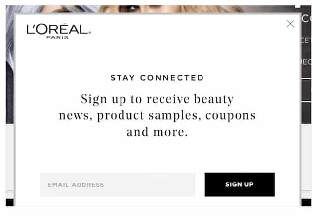 L'Oréal использует всплывающее окно лайтбокса